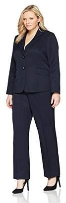 Le Suit Women's Plus Size Stripe 2 Button Notch Lapel Pant Suit (2)