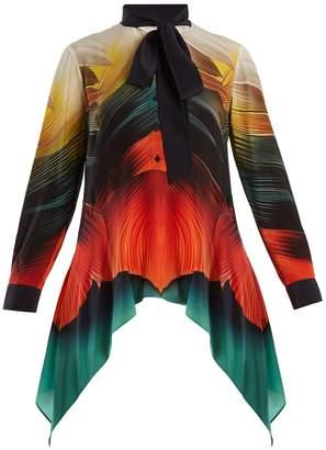 Mary Katrantzou Hearts feather-print silk-crepe blouse
