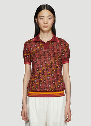 Wales Bonner Jacquard Knit Vest in Polo Shirt in Red