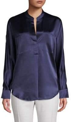 Vince Long-Sleeve Silk Top