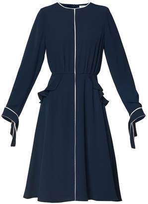 PAISIE - Ruffled Pocket Dress with Contrast Piping Detail in Navy & White with White Faux Leather Belt