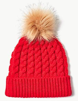 M&S Collection Faux Fur Bobble Beanie Hat