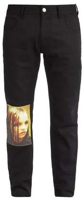 Raf Simons Christiane F. Photographic Print Patch Jeans - Mens - Black