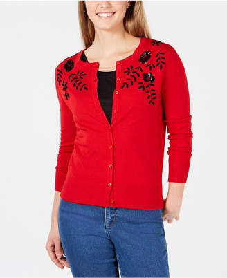 Charter Club Petite Beaded Sequined Cardigan