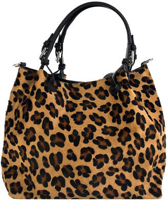 Brix And Bailey Hobo Tote Leopard Calf Hair Leather Bag