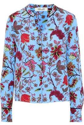 Diane von Furstenberg Floral-Print Silk Crepe De Chine Blouse