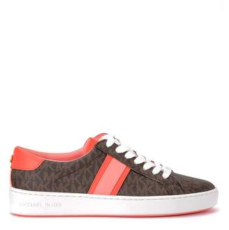Michael Kors Sneaker With Bas-relief Logo And Coral Leather Trim