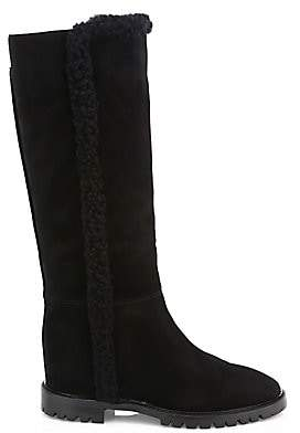 Aquatalia Women's Cheyenne Knee-High Shearling-Trimmed Suede Boots