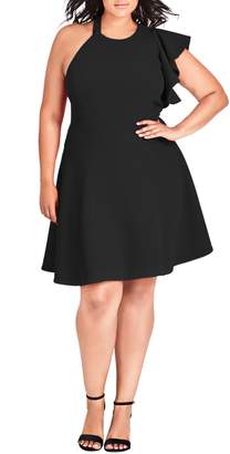 City Chic Classy Star One Shoulder Fit & Flare Dress