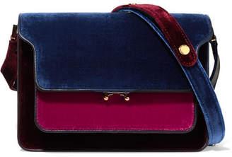 Marni Trunk Medium Color-block Velvet And Leather Shoulder Bag - Blue