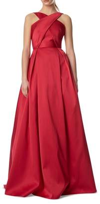ML Monique Lhuillier Cross Front Ball Gown