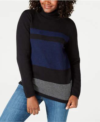 Karen Scott Cotton Printed Turtleneck Sweater, Created for Macy's