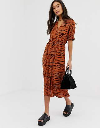 Influence shirred sleeve midi dress with button down front in tiger print