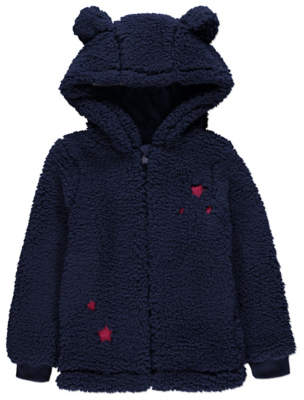 George Navy Bear Eared Hooded Borg Zip-Up Hoodie