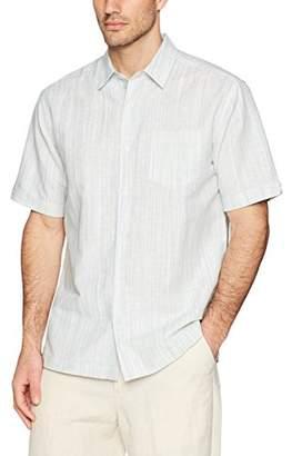 Cubavera Men's Short Sleeve Linen-Blend Textured Stripe Shirt with Pocket