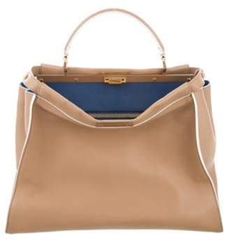 Fendi Leather Peekaboo Tote Tan Leather Peekaboo Tote