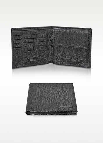 a. testoni A.Testoni Black Leather Coin Compartment Billfold Wallet