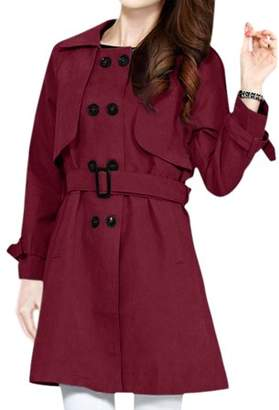 Unique Bargains Women Raglan Sleeves Double Breasted Casual Belted Trench Coat Orange M