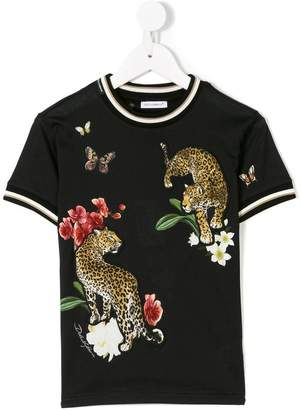 Dolce & Gabbana leopard embroidered T-shirt