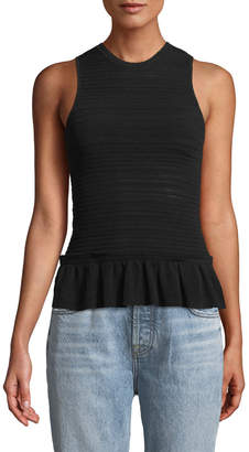 Rebecca Taylor Sleeveless Pointelle-Mix Tank w/ Flounce Hem