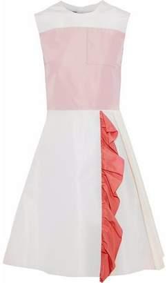 Prada Ruffle-Trimmed Color-Block Silk-Faille Dress