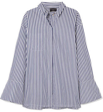 Mother of Pearl Faux Pearl-embellished Striped Organic Cotton Shirt - Navy