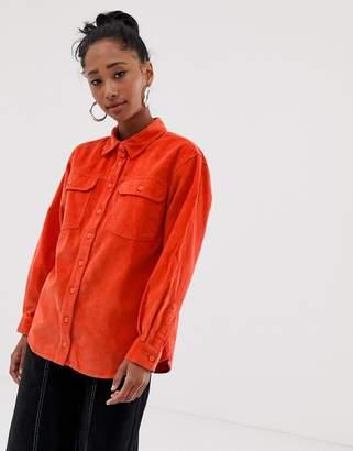 Asos Design DESIGN cord shirt in orange