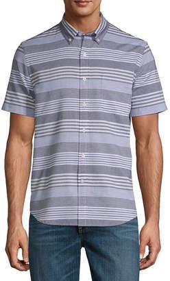 e27929fd9 ST. JOHN S BAY Mens Short Sleeve Striped Button-Front Shirt