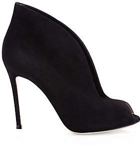 Gianvito Rossi Women's Vamp Notched Suede Ankle Boots