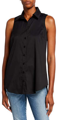 Finley Shelly Button-Front Sleeveless Poplin Top with Button-Back