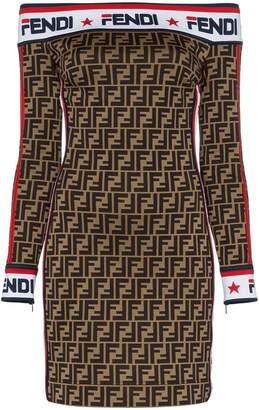 Fendi mania logo cotton jersey dress