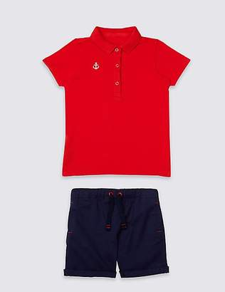 Marks and Spencer 2 Piece Polo Shirt & Shorts Outfit (3 Months - 7 Years)
