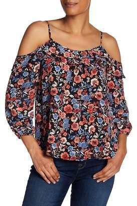 Joie Birtha Cold Shoulder Floral Print Silk Blouse