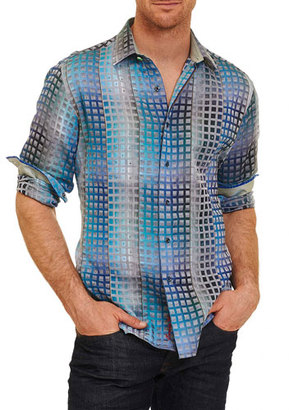 Robert Graham Limited Edition Landry Sport Shirt, Turquoise $398 thestylecure.com