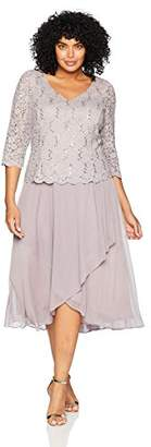 Alex Evenings Women's Plus Size Tea Length Dress with Sleeves