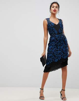 Lipsy allover lace bodycon dress with frill hem in print