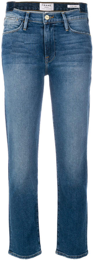 Tief sitzende Cropped-Jeans