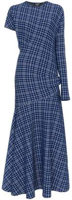 Calvin Klein single sleeve check asymmetric dress