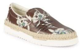 Valentino Floral Leather Slip-On Espadrilles