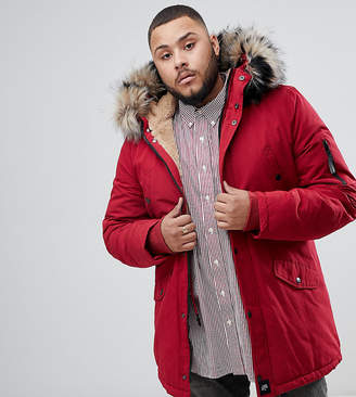 Asos Sixth June parka coat in red with black faux fur hood exclusive to