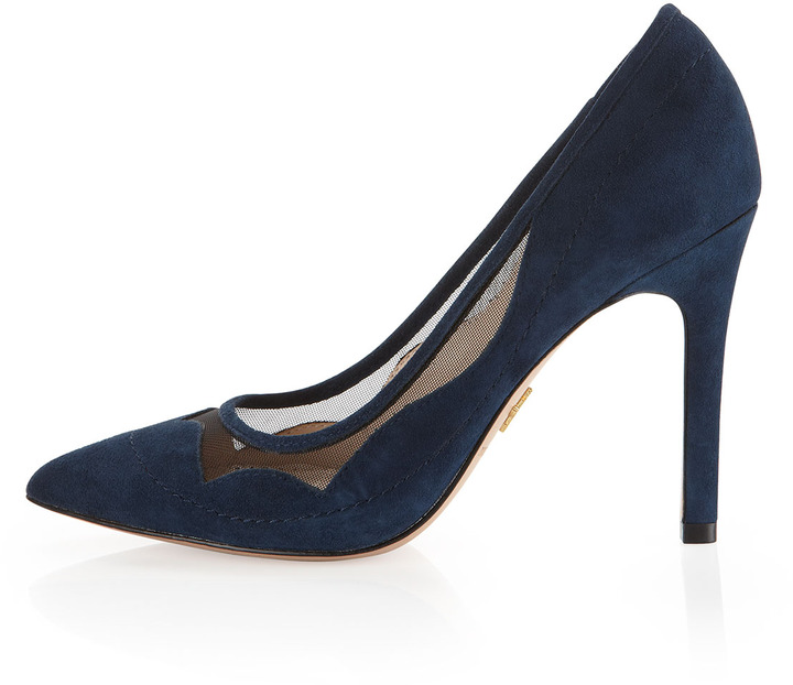 Pour La Victoire Chantel Scalloped Mesh Pump, Navy