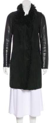 Gucci Leather-Paneled Shearling Coat