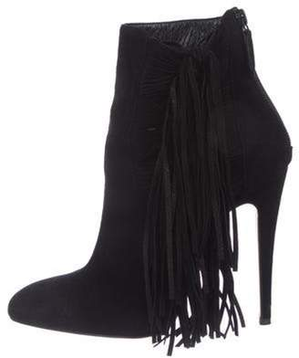 Brian Atwood Fringe Suede Ankle Boots Black Fringe Suede Ankle Boots