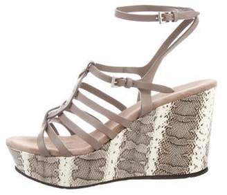 Cesare Paciotti By Midnight Platform Snakeskin-Accented Wedges