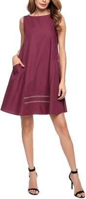 Zeagoo Women Striped Pocket Sleeveless Causal Flared Swing Dresses(,L)
