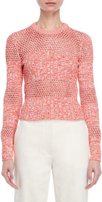 Cédric Charlier Ribbed Open Knit Sweater