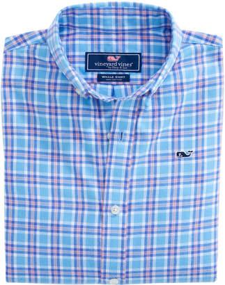 Vineyard Vines Boys Morgan Way Plaid Flannel Whale Shirt