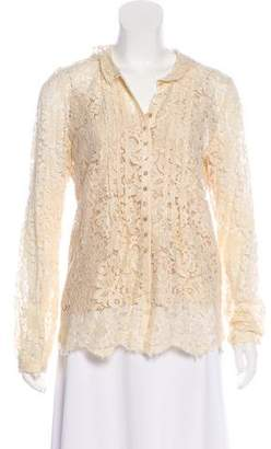 Rebecca Taylor Lace Button-Up Top