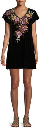 Johnny Was Zosia Embroidered Velvet Tunic Dress, Plus Size