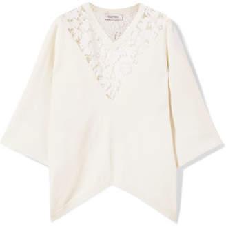 Valentino Lace-paneled Jersey Poncho - Ivory